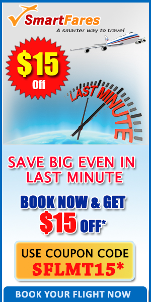 Save $15 on Last Minute Flights!