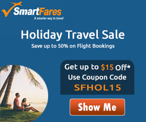 Black Friday Huge Discount. Book with SmartFares® & Get $15 Off