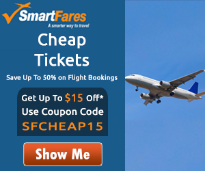 Cheap Tickets! Save up to 70% and get extra $15 Off. Use Coupon Code: SFAIR15. Book Now