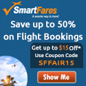 Smart Fares Coupon: Up to 70% Off Airline Ticket Sale + Extra $15 off Coupon Deals