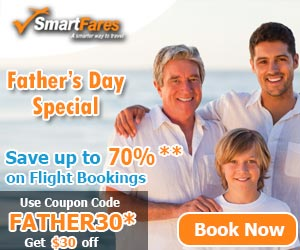 Amazing Father's Day Airfare Deals. Book Now and Get up to $30 Off. Hurry -  Limited Period Sale