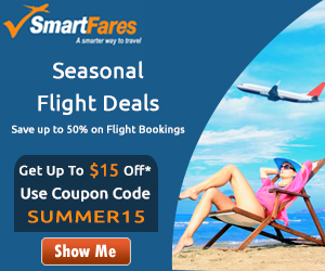 Seasonal Flight Deals. Book with SmartFares® & Get Up To $15 Off* - Use Coupon Code