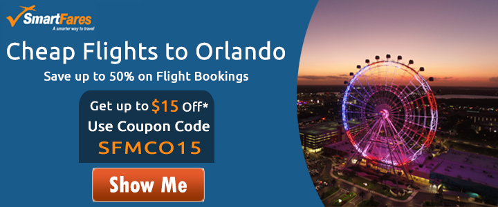 Cheap Flights To Orlando! Get Up To $15 Off* On All Flight Bookings.